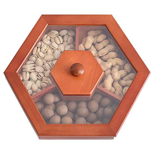 Caja de frutas secas de madera, cesta de regalo de frutas secas, bandeja libre de nueces con tapa para dulces/nueces/dulces, ocasiones incluyendo Año Nuevo, Día de la Madre y vacaciones