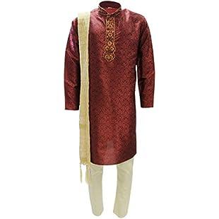 Krishna Sarees MKP9016 Red and Gold Men's Kurta Pyjama Indian Suit Bollywood Sherwani Chest 38 inches:Carsblog