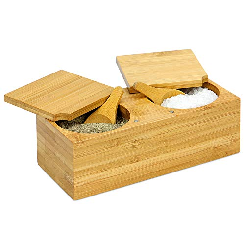 Bamboo Spice Salt & Pepper Box | Magnetic Hinged Pot Includes 2 Spoons | 2 Part Sectioned Wood Salt Pig for Herbs & Spices | M&W