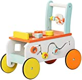 Labebe New Design Baby Walker with Wheel, 3-in-1 Orange Wooden Activity Walker for Baby 1-3 Years, Baby Push Walker Girl&Boy/Wooden Push Toy/Walker Toy Infant/Baby Wagon/Learn Walker/Push Cart Toy