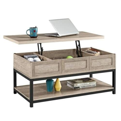 Rustic Grey Industrial Style Coffee Table with Convenient Lift-top Design Hidden Compartments and Bottom Open Shelf Ample Storage Space Ideal Choice for Home Office Living Room Bedroom Reception Use