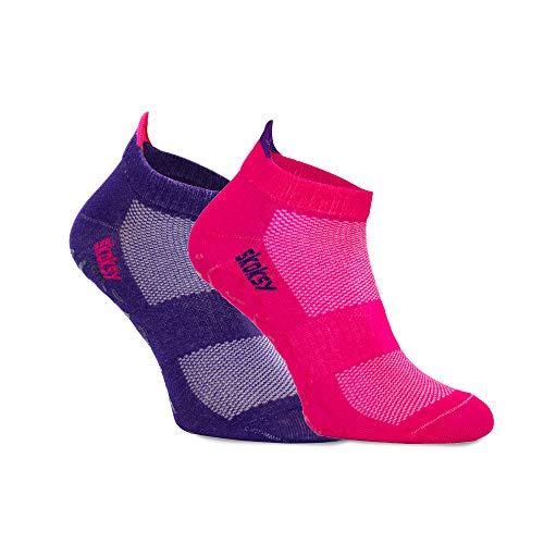SKOKSY - Damen Herren Extreme ABS Basic Sneaker Antirutsch Sport Stoppersocken - 2 Paar - Rosa Violett - Größen 41-46