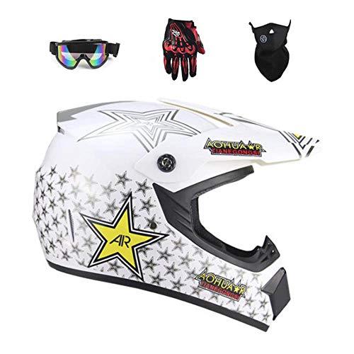 CYSJX Casco integral con gafas de guantes, casco de motocross para adultos, casco de motocross, moto todoterreno, equipo de protección, S-XL, blanco