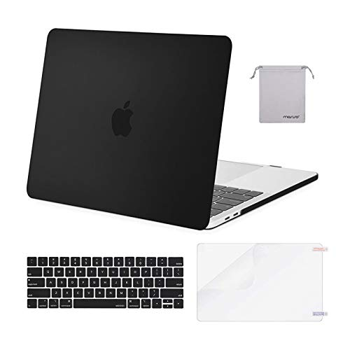MOSISO Compatible with MacBook Pro 15 inch Case 2019 2018 2017 2016 Release A1990 A1707 with Touch Bar, Plastic Hard Shell Case & Keyboard Cover & Screen Protector & Storage Bag, Black
