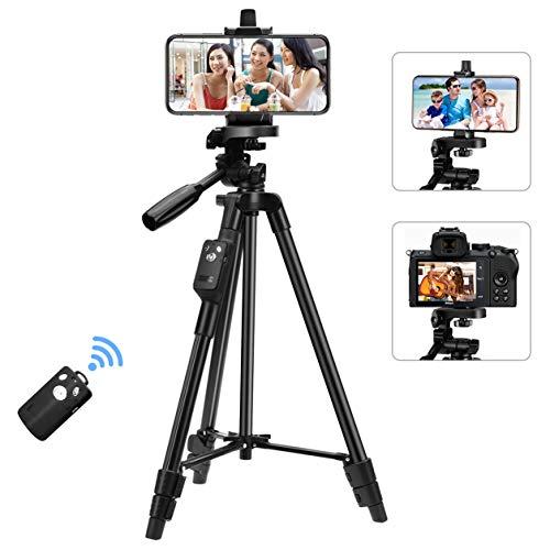 【最新版】 ビデオカメラ 三脚 スマホ三脚 Bluetoothリモコン付き 一眼レフカメラ 3Way雲台搭載 4段階伸縮 最長1.25mまで 360°まで自由に調整可能 超軽量 アルミ製 携帯便利 スマホ三脚 収納袋付き