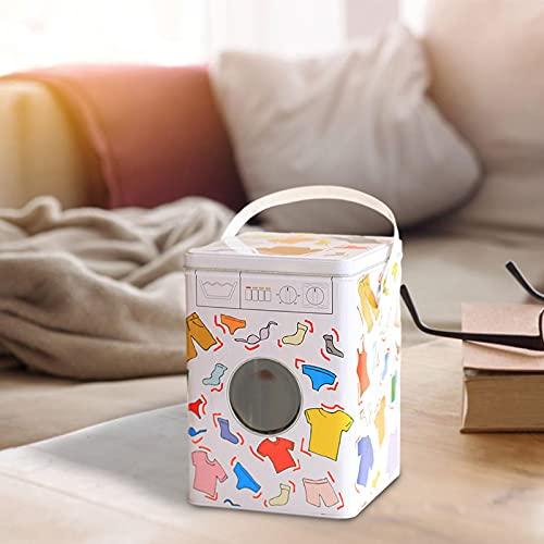 fdsfa Scatola per il bucato, resistente all'umidità, antiruggine, portatile, coperchio ermetico e manici, contenitore per detersivi, accessori per la lavanderia
