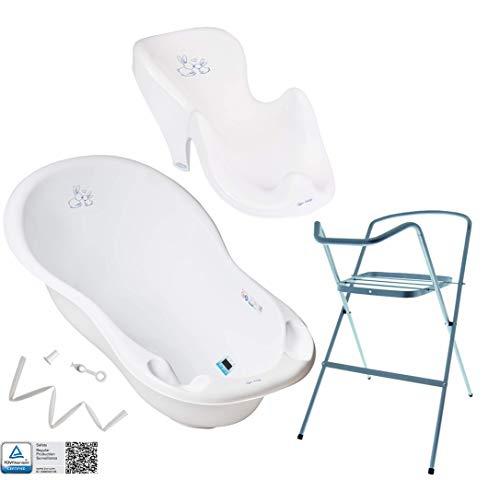 Tega Baby ® Baby Badewanne mit Gestell und Verschiedene Sets mit Babybadewannen + Ständer + Abfluss + Badewannensitz 0-12 Monate | ergonomisch Neugeborene, Motiv:Häschen - weiß, Set:4 Set