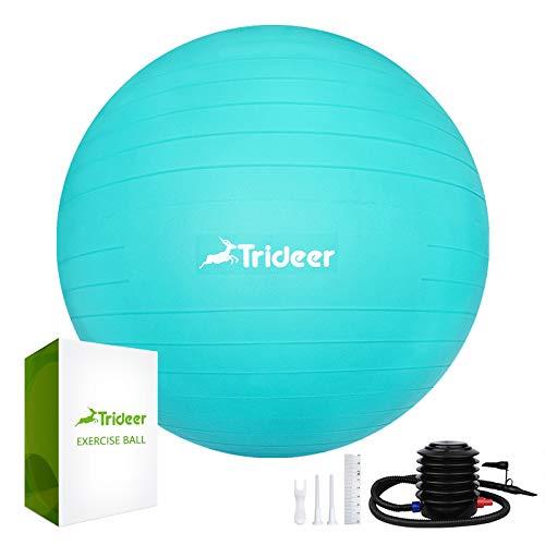 Trideer Dicker Gymnastikball inkl Ballpumpe, Robuster 700kg Maximalbelastbarkeit Sitzball Pilates Ball Yoga Ball als Fitness Kleingeräte und Balance Stuhl im Gym-Home-Büro