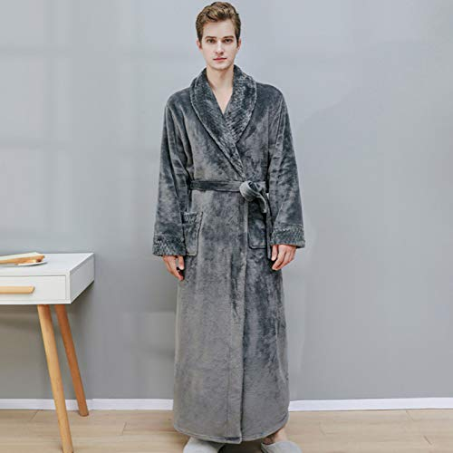 XRQ Männer Robe Mit Kapuze Weiche Korallen Fleece Langes Dressing Kleid Bad Robe...