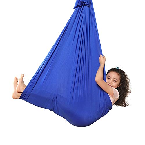 WCX Kids Adult Indoor Therapy Swing Special Needs Cuddle Hammock Hanging Bed Ideal For Autism ADHD Aspergers And Sensory Integration (Color : Royal blue, Size : 150x280CM)