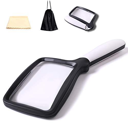 Lupe mit Licht 5 LEDs Große Handleselupe zum Einklappen 3-fache Vergrößerung mit 2 Dimmmodi Ideal zum Lesen kleiner Ausdrucke, Bücher, Sehschwäche