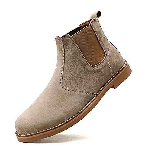 Chelsea Boots Dames Heren, Casual enkellaarzen Formeel zakelijk werk Britse stijl Rubberen zool Ideaal voor dagelijkse werkpartijen in het hele seizoen-Beige 44 eu