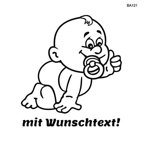 25cm Babyaufkleber mit Ihrem Wunschtext dazu in diverse Farben möglich/Art.: B121