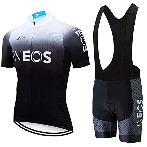 ADKE Hombre Camisetas de Ciclismo para Verano, Maillot Manga Corta de Bicicleta, y Culotte Ciclismo Transpirable, Secado Rápido (INEOS-BK, L)