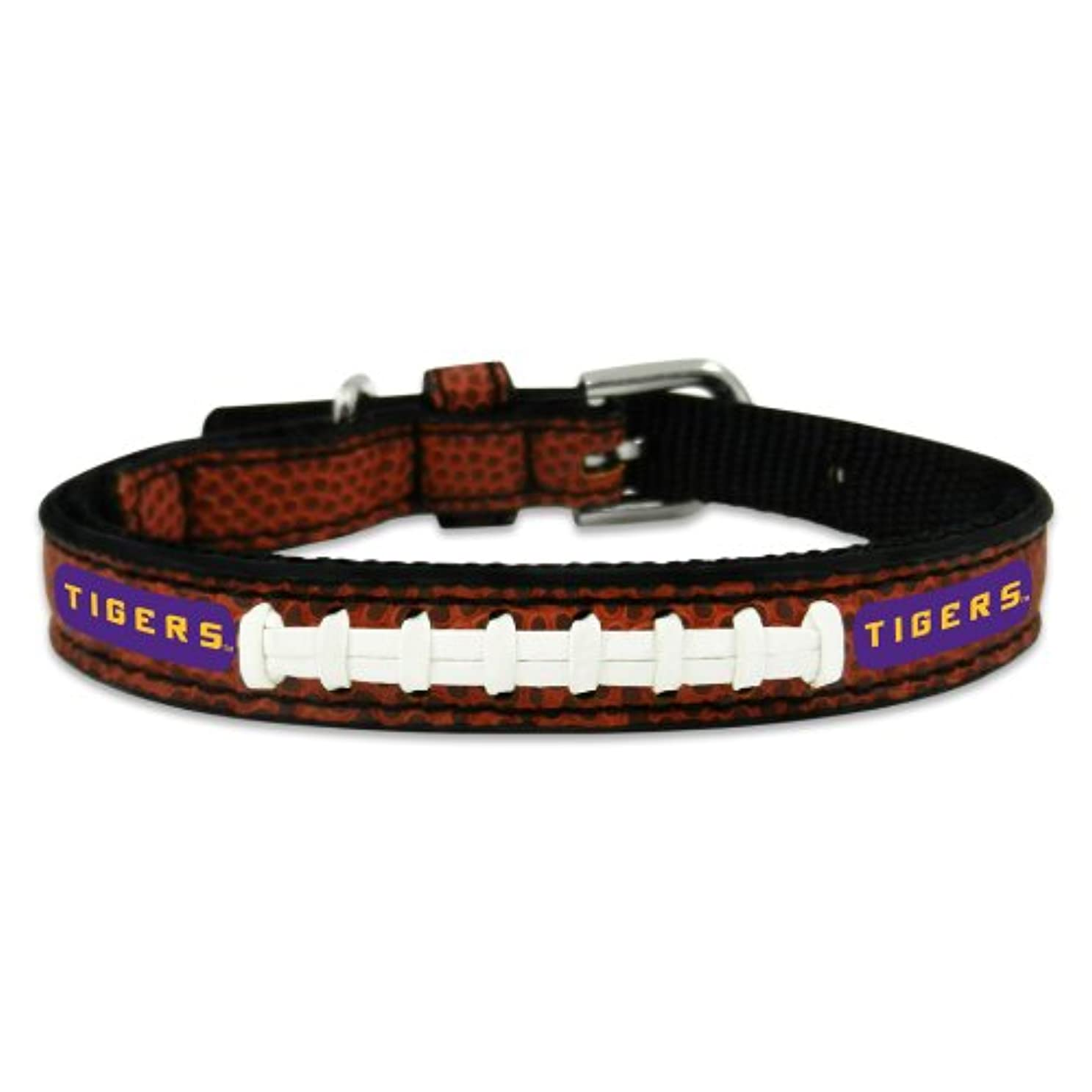 大学院フィッティング形状LSU Tigers Classic Leather Toy Football Collar