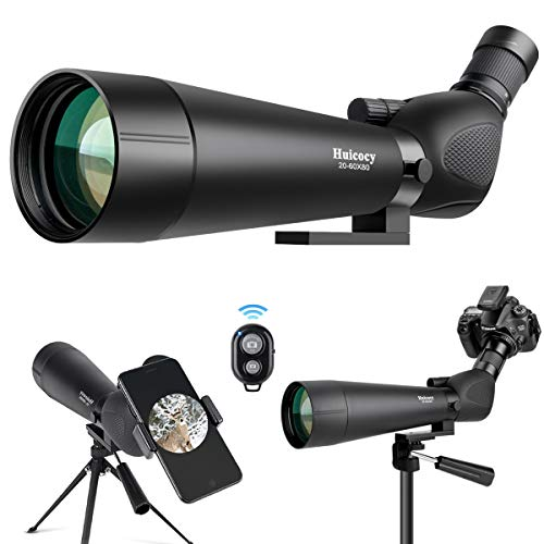 Big Save! Huicocy Updated 20-60x80 HD Spotting Scope,BAK4 Prism Multi-Coated Optical Lens AE Waterpr...