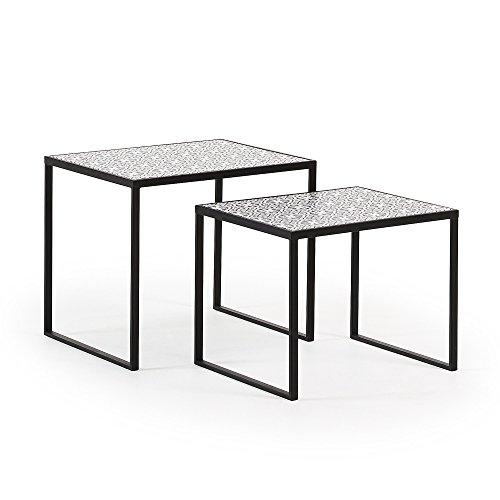 Kave Home - Set de 2 mesas auxiliares Pica Blanco y Negro Rectangular 55 x 43/50 x 40 con Estructura de Acero en Negro