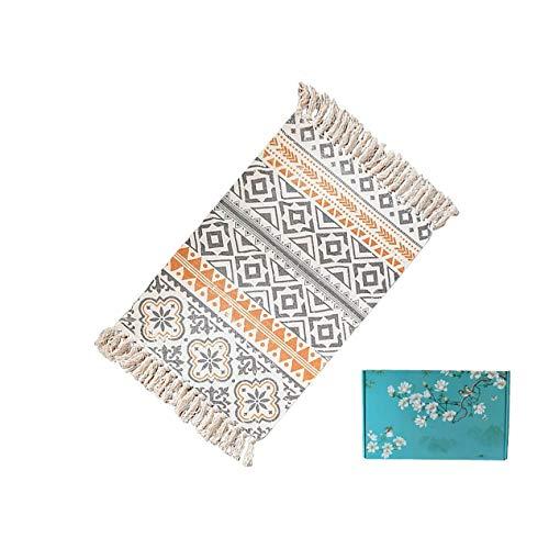 Boho Vintage Dekorative Baumwolle Kleine Teppiche, Handgewebt und Maschine waschbar Baumwolle Quaste Teppich verwendet in Küche Wohnzimmer Schlafzimmer Badezimmer Bodenmatte