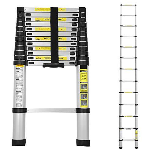 wolketon 3,8M Escalera telescópica de Aluminio Fuerte Estabilidad Escalera plegable Escalera alta multifuncional para loft 13 Escalones Antideslizantes Carga 150 KG