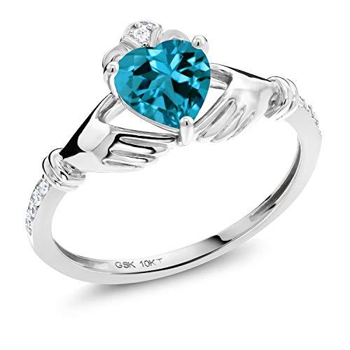 Gem Stone King 1.01 Ct Heart Shape London Blue Topaz White Diamond 10K White Gold Irish Celtic Claddagh Ring (Size 6)