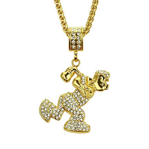 18K Cartoon Stijl Gouden Mannen Plated Chain Persoonlijkheid Punk Electroplating Curb Zware Hip Hop Ketting Strass Grove Sterke Hanger Cubaanse 30inch goud
