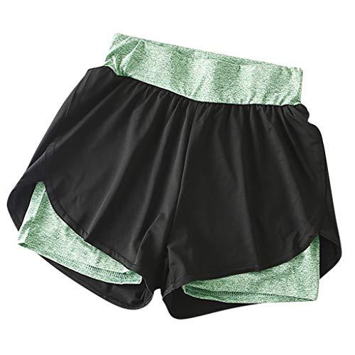 YANFANG Shorts para Mujer,Lady Women Yoga Color Elastic Sport Pants Pantalones Shorts Pantalones Pantalones de Fitness gymnacio,, S,Green