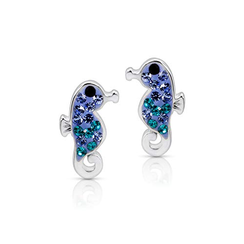 Blue Ocean Seahorse (Hippocampus) Fish Crystal Earrings Never Rust 925 Sterling Silver Natural & Hypoallergenic Studs For Women and Girls with Free Breathtaking Gift Box for a Special Moment of Love