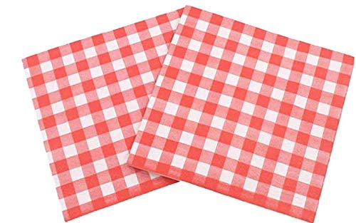 Paquete de 60 servilletas de papel a cuadros rojos y blancos, servilletas de almuerzo para bodas, fiestas, cumpleaños, cenas, Navidad, almuerzo con 2 capas, 15.5 x 15.5 cm