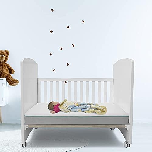 Fushia Medical Care Colchón de Cuña 120x60x12cm en Espuma con Memoria con Funda Impermeable, Lavable y removible con Cremallera, Colchón de Cuna Impermeable para Que el bebé duerma seco y Tranquilo