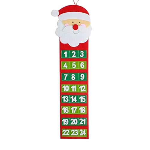COMTERVI Calendario dell'Avvento con 24 Tasche Calendario di Natale Deco Conto alla rovescia di Natale per Appendere e riempire da Solo