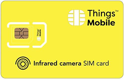 Tarjeta SIM para CÁMARA DE INFRAROJOS - Things Mobile - con cobertura global y red multioperador GSM/2G/3G/4G LTE, sin costes fijos y sin vencimiento. 10 € de crédito incluido