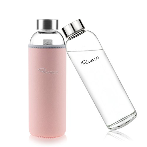 Ryaco Glasflasche Trinkflasche Classic Tragbare 550ml BPA-frei für unterwegs Sportflasche Glas Wasserflasche zum Mitnehmen von kalten Heiß Getränken mit Neopren Tasche und Schwammbürste (Rosa, 550ml)