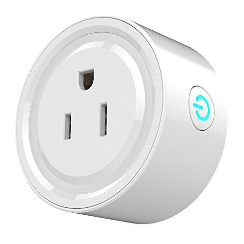 Topuality WiFi Smart Plug Wi-Fi aktiviert Mini-Buchse App Fernbedienung Wireless Portable Automatische Timer-Steckdosen mit ON/Off-Schalter für Licht Elektrogerät für Kompatibel mit Alexa Google Hom