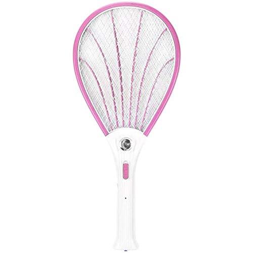 Insecto Matamoscas Electrico Raqueta Matamoscas Enchufable Eléctrica Raqueta Mosquitos Iluminación LED Mango Extraíble Protección de Zapatero (Color : Pink)