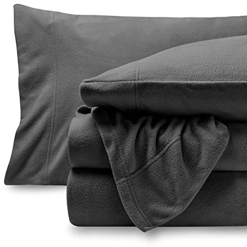 Bare Home Super Soft Fleece Sheet Set  Split King Size  Extra Plush Polar Fleece PillResistant Bed Sheets  All Season Cozy Warmth Breathable amp Hypoallergenic Split King Grey