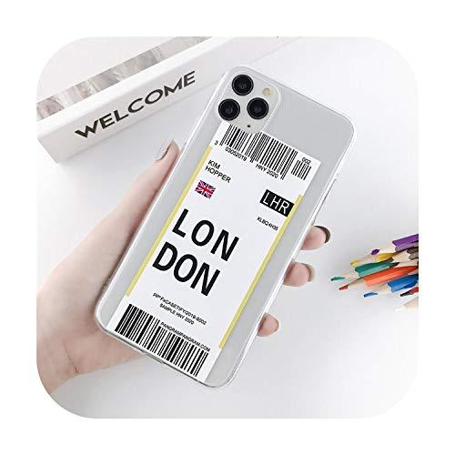 Fun-boutique Carcasa, para teléfono iPhone 11 Pro Max, X, Xs, XR, Xs Max, 6, 6s, 7, 8 Plus, transparente, de billete de avión, etiqueta, país, letra (idioma español no garantizado)