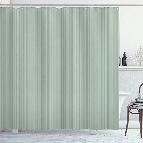 N \ A Duschvorhang, vertikale Streifen, Linien, Kleidermuster, modernes Design, Illustration, Stoffstoff, Badezimmer-Dekor-Set mit Haken, 183 cm lang, grün-blau