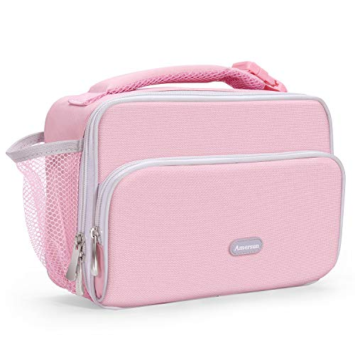 Amersun Insulated Lunch Box for Kids,Premium Water-resistant Girls Lunch Bag Cooler for School Travel Picnic Camp Sport with Drink Holder & Multi-pockets|Compact Durable Lunchbox(Pink)