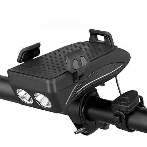 4 Función USB Recargable Bici Delantero Juego De Luces, Soporte Para Teléfono Móvil A Prueba De Golpes Con El Banco De La Energía 4000Mah, Ciclismo Cuerno De Seguridad Noche (Segunda Generación),Negro