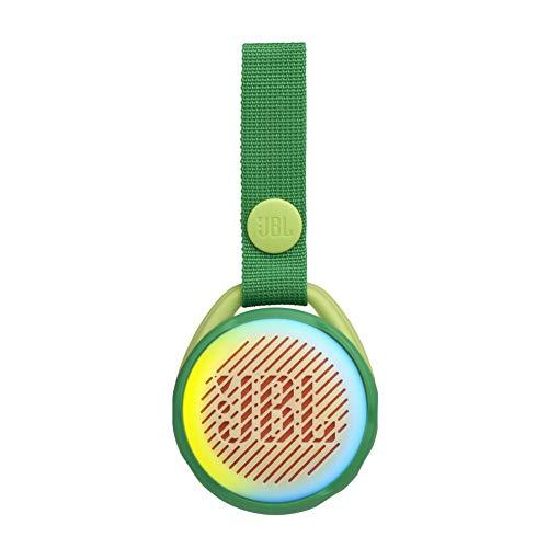 JBL JR Pop Mini-Boombox für Kids in Grün – Poppiger, wasserdichter Bluetooth-Lautsprecher mit eingebauten Lichtmotiven – Bis zu 5 Stunden Musik hören mit nur einer Akku-Ladung