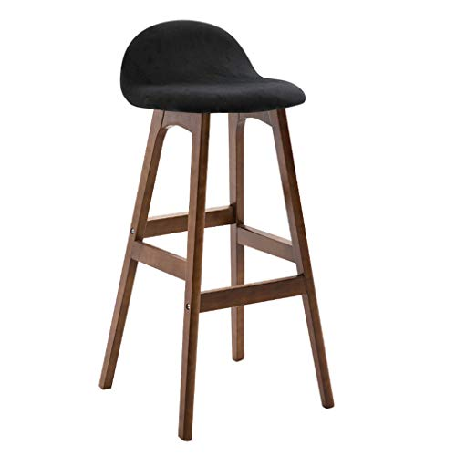 Chaise de bar tabouret de bar en bois massif tabouret haut élégant chaise en bois de bar tabouret de bar de table arrière chaise haute de magasin de thé (Color : Black, Size : Walnut color)
