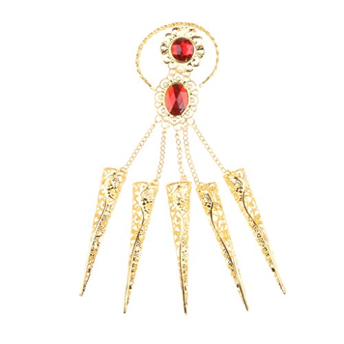 joyMerit 1 Pieza, Accesorios para Disfraces, Danza Del Vientre, Pulsera de Oro Egipcio Gitano, Uñas de Los Dedos con Joyería Roja Artificial Ajustable