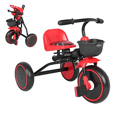 Folding Toddler Kids Tricycle Baby Balance Bike for 2-5 Years Old Kid Trike with Training Wheels Boys Girls Infant Toddler Bicycle Adjustable Seat Storage Box Toys Gifts (Red)