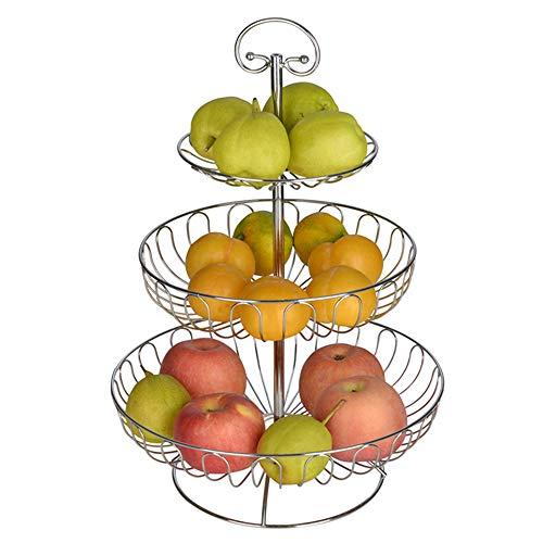 XXCC Assiette de Fruits Corbeille de Fruits ménage créatif Multicouche européen Salon Moderne Table Basse Simple collations Trois Couches Rack Installation Multifonction Corbeille de Fruits