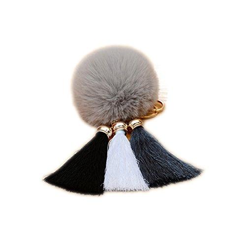 URSFUR Schöne Fellbommel aus Kunstfell Tasche Pompons Handtasche Schnalle Schlüsselanhänger -grau
