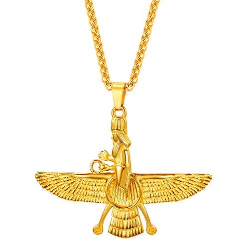 U7 Colgante Faraón Collar de Oro Tono Colgante de farohar Persia Egipcia Antigua Collares Hombre 50cm Cadena Trigo