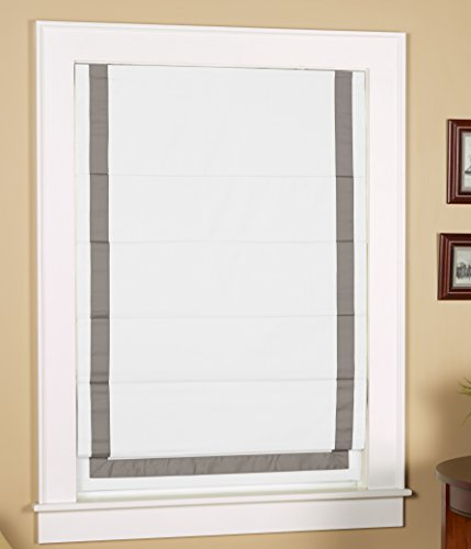Green Mountain Vista Thermal Blackout Cordless Roman Shade with Ribbon Border - Size 31' Wide x 63' Long, White Face Fabric with Grey Border