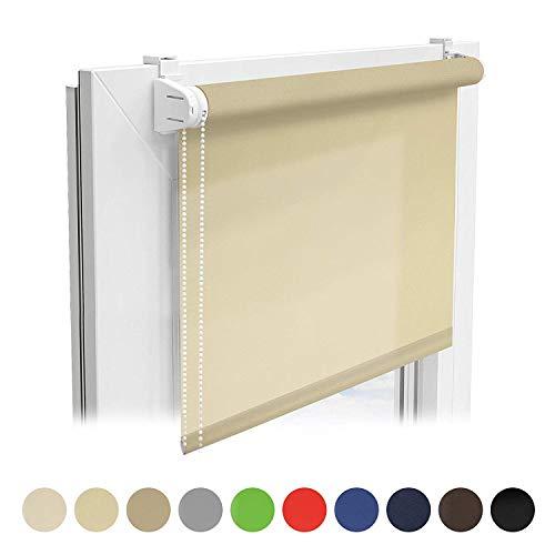 Floordirekt Sichtschutzrollo | lichtdurchlässiges Rollo als Sichtschutz am Fenster | Klemmfix ohne Bohren | (Creme, 110x150 cm)
