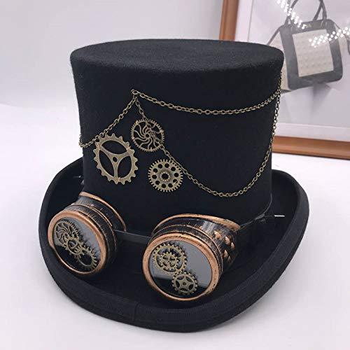 N-N Casquettes De Baseball Retro Punk Unisex Party Black Hat Vintage Steampunk Gear Gothic Goggles Fedora Hats Cosplay Hats