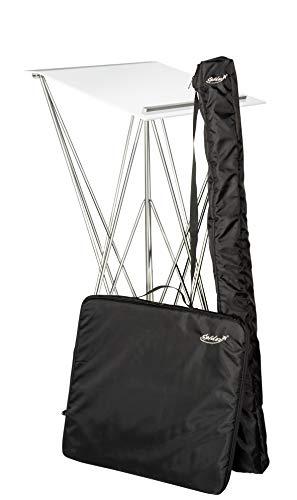 Spider Pult – Stehpult faltbar, leicht und stabil – Schreibpult mobil in verschiedenen Höhen und Farben - Aluminium und Acryl - Rednerpult (Weiss mit Taschen, Höhe 115 cm)
